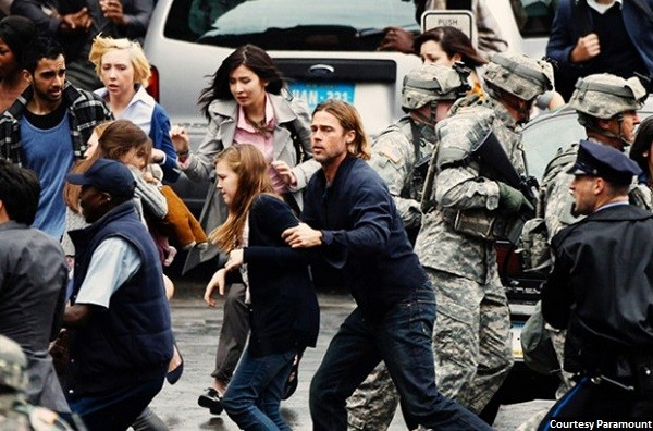 Zombies attack action genre in 'World War Z'